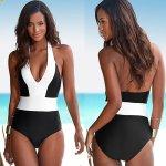 V&V Itaca White jednodílné plavky černá