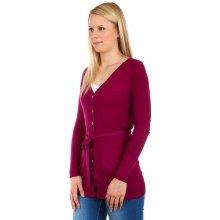 YooY Dámský jednobarevný svetr na knoflíky fialová a927a763be