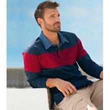 Blancheporte Tričko polo rugby s džínovým límečkem a dlouhými rukávy nám.modrá/červená