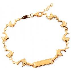 801d5d640 iZlato Forever zlatý náramek s destičkou a delfíny IZ17769