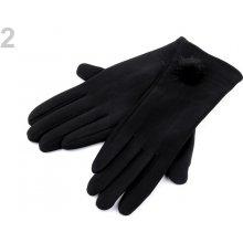 dámské rukavice s knoflíky bambulkou 10pár r černá 5a6609c9b3