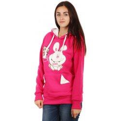 YooY Hřejivá mikina s obrázkem a ušima na kapuci růžová 23MA18 od ... aa0922576a