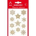 Arch Holografické dekorační samolepky vánoční s glitry 707-GG stříbrno-zlaté 8,5x12,5 cm