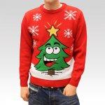 Pánský svetr s vánočním motivem Xmas Tree červený 19915fd191