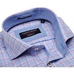 Casa Moda Modern Fit Premium – luxusní světle modrá košile s vetkanou  fialovo-růžovou kostkou 421c861ee9