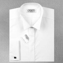AMJ pánská košile s dlouhým rukávem, do fraku Bílá JDA018FR