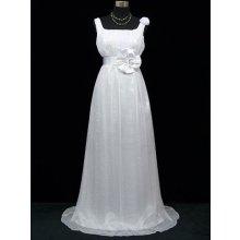 Bílé dlouhé svatební šaty empírový střih i pro těhotné šifon