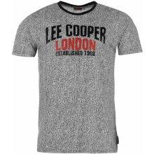 Lee Cooper All Over Print Large Logo T Shirt Mens Black Marl