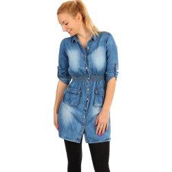 7a2d1c0e992f Krátké dámské riflové šaty s tříčtvrtečními rukávy světle 294681 modrá