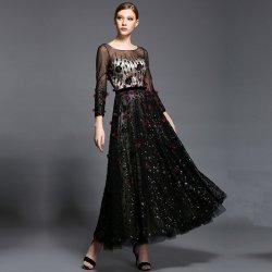 Dorisqueen luxusní zdobené šifonové šaty s dlouhým rukávem DQ1508 černá plesové  šaty 04cd1fea98