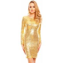 Mayaadi společenské šaty flitrové s dlouhým rukávem krátké zlatá fb26579efc
