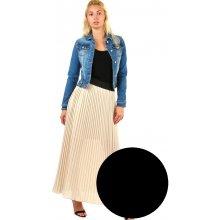 5b951ca608c Glara skládaná plisovaná dlouhá sukně černá 337805