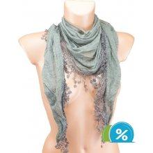 Dámský trojúhelníkový šátek s třásněmi hnědý 4805a998b7