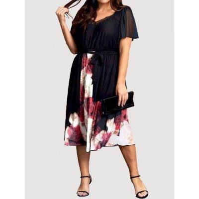 Společenské šaty plus size květované velikost 58 > varianta černá > 58