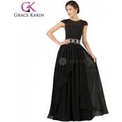 Grace Karin společenské černé šaty s krajkou a mini rukávky CL7520-1 Černá a8edb630abf