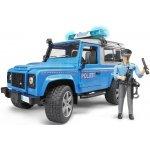 BRUDER 2597 Policejní Land Rover Defender + policista a maják