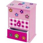 Teddies Skříňka růžová 2 zásuvky odklápěcí vrch police dřevo 12,2x8,16x8,7cm v krabici