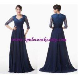 5632b5da5fbe Modré dlouhé společenské šaty s krajkovým rukávem šifonové pro svatební  matky