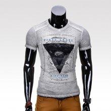 Pánské tričko s potiskem Leael šedé Ombre Clothing