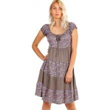3f7ccc0a0cb YooY dámské plážové květované šaty s krátkým rukávem hnědá