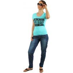 Glara Dámské riflové kalhoty na šňůrku v pase modrá 143705 ... 8cec433acf