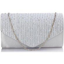 LS Fashion společenská kabelka psaníčko s kamínky LSE00299 bílá