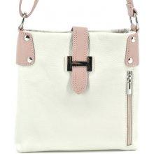 Arteddy dámská kožená kabelka crossbody krémová růžová pudrová 0b81a31912c