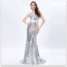 4fbd6823fb79 Grace Karin luxusní společenské šaty dlouhé s vlečkou GK4409-4 stříbrná