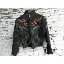 Kožená bunda Chopper dámská broušená plamínky černá