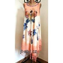 f17c486fa265 Indické šaty ruční batika Motýl květy třásně meruňková