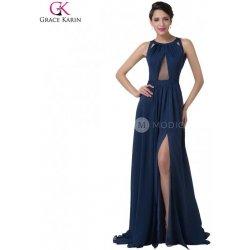 Grace Karin sexy společenské šaty průhlednou vsadkou v korzetu CL6281 Modrá ba97adee96