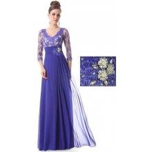 Modré dlouhé Společenské šaty s krajkovým rukávem šifonové pro svatební matky