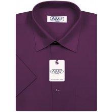 AMJ pánská Košile s krátkým rukávem Tmavě fialová JK084 c4aec4a515