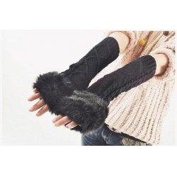 Dlouhé pletené rukavice bez prstů s kožíškem F548 černé od 249 Kč ... 7dae63fab3