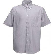 Pánská košile Oxford krátký rukáv, Oxfordská šeď, Fruit of the Loom, 65-112-0