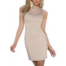 LM moda pouzdrové společenské šaty s krajkou 0060 béžová e8284a4c27