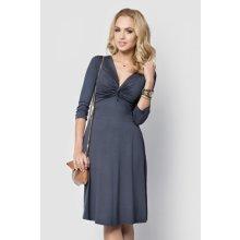 dámské šaty ve volném střihu MA015 zdobené uzlem grafitové
