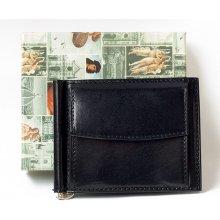 82d24272694 Černá kožená peněženka dolarka s kapsičkou na mince z pevné lesklé kůže