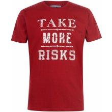 Fabric Slogan T Shirt Mens Red