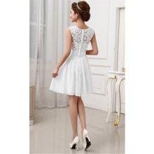 LM moda plesové šaty krátké s krajkou bílá e2211847866