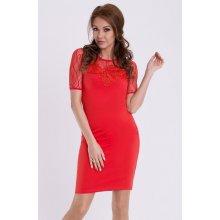 04ba08407f2 Emamoda dámské společenské šaty s krátkým rukávem červená