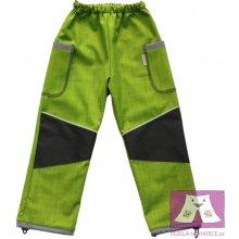 Veselá Nohavice dětské softshellové kalhoty zeleno šedé