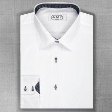 AMJ Slim Fit pánská košile s dlouhým rukávem Bílá JDSL018