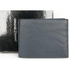 Designer Italiano Tmavě modrá kožená peněženka