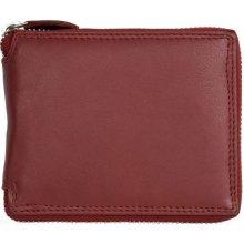 116348c8d Kožená peněženka tmavě kvalitní celá dokola na zip červená