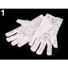 Společenské rukavice dětské 17 cm krajkové bílá