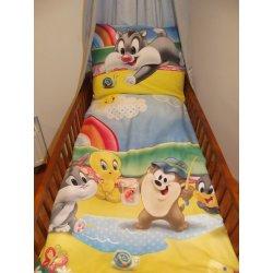 Dětské povlečení SDS Povlečení do postýlky Looney Tunes modrá bavlna 90 x 130 cm 60 x 45 cm