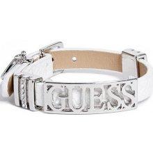 GUESS náramek Silver-tone Logo Friendship Bracelet bílý P280970321A