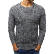Pánský světle šedý fleecový svetr (wx0998)