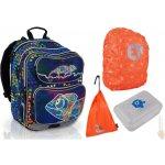 Topgal Tříkomorový školní batoh CHI 602 D chameleon blue +BOX